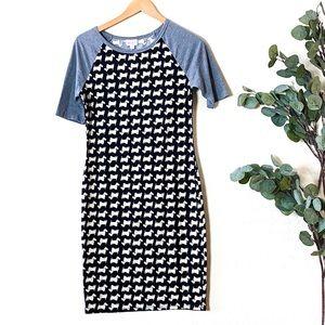 LuLaRoe Dress Sz Small Dog Print Gray Sleeve